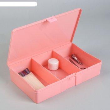 Контейнер для маникюрных инструментов, 3 секции, 24 x 14 см, цвет розовый