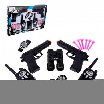 Набор шпиона двойной агент: 2 пистолета, 2 рации, часы, компас, бинокль