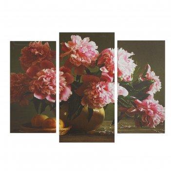 Модульная картина на подрамнике розовые пионы, 2 шт. — 25,5x50,5 см, 30,5x