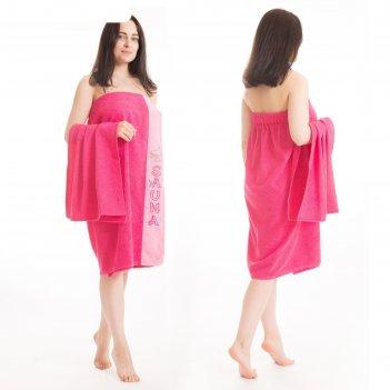 Набор д/сауны махр. жен (килт(юбка)80х160, полотенце 50х90), цвет малиновы