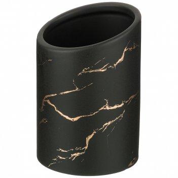 Подставка для столовых приборов коллекция золотой мрамор цвет: black 10,8*
