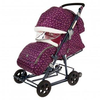 Санки-коляска «ника детям нд8-1к», колёса с камерой, принт с фламинго, цве
