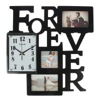 Часы настенные хайтек+3 фоторамки forever кофе (фото 8,5х8,5-1шт 9х13,5-2ш
