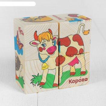 Кубики деревянные животные фермы, набор 4 шт.
