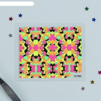 Наклейки для ногтей, неоновые, цвета микс