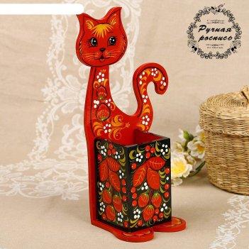 Подставка для ложек «котик», хохлома