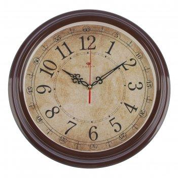 Часы настенные круглые классика ретро, 35 см, обод коричневый