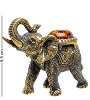 Am-1523 фигурка слон лаос (латунь, янтарь)