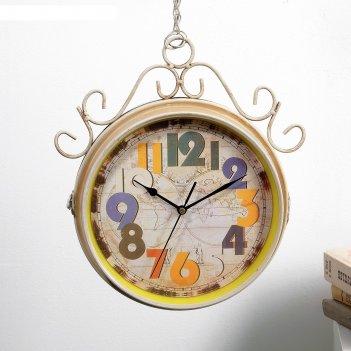 Часы настенные двойные, серия: садовые, радуга, 45х9х51 см