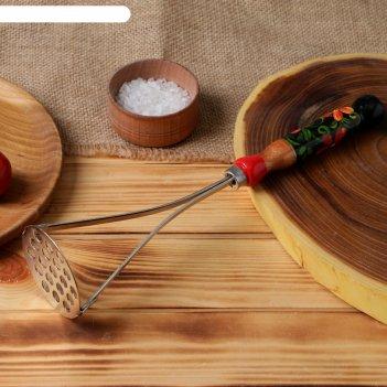 Толкушка с деревянной ручкой, художественная роспись