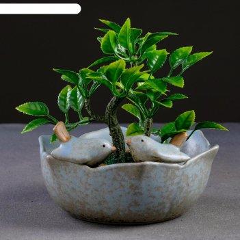 Кашпо керамическое птички на цветке 16*14*8см