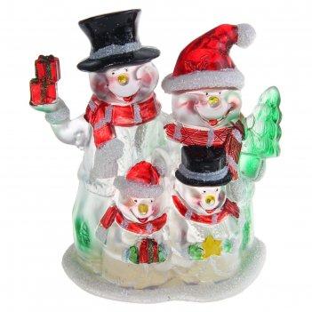 Игрушка световая семейка снеговиков (батарейки в комплекте) 1 led, rgb