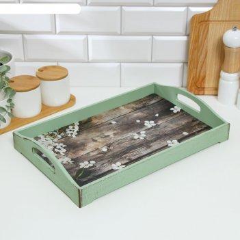 Поднос деревянный для завтрака прованс. лепестки яблони, 43x27.5x7 см, зел