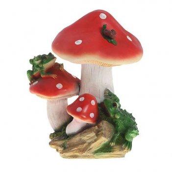 Фигура декоративная садовая гриб с лягушкой средний l22w19...