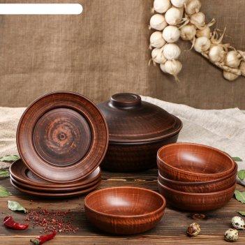 Набор посуды из красной глины, 9 предметов