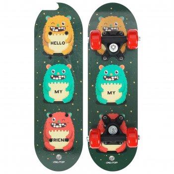 Скейтборд детский монстры 44 х14 см, колеса pvc 50 мм, пластиковая рама