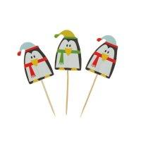 Шпажки для канапе пингвин в шапочке (набор 24 шт)