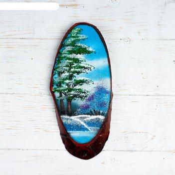 Панно на спиле зима, 27-31 см, каменная крошка, вертикальное