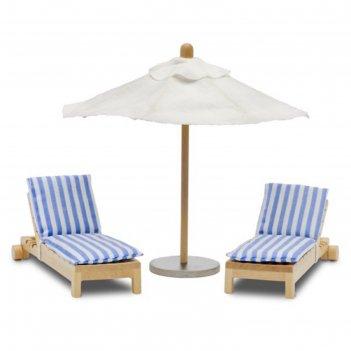 Набор мебели для домика шезлонги с зонтиком