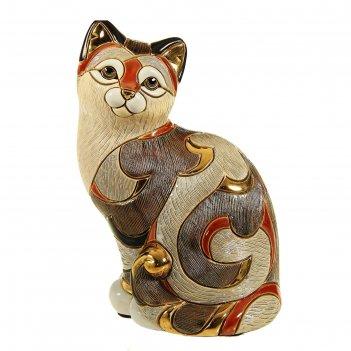Фигурка дымчатая кошка калико