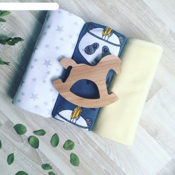 Набор пелёнок, размер 85x120 см-3 шт, принт панды/желтый/звёзды