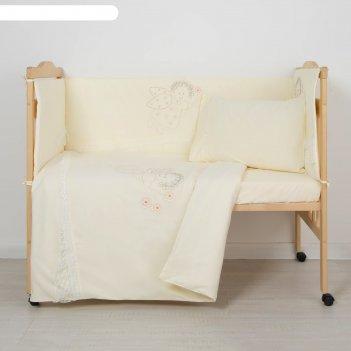 Комплект в кроватку ангелочек (6 предметов), цвет бежевый 7099