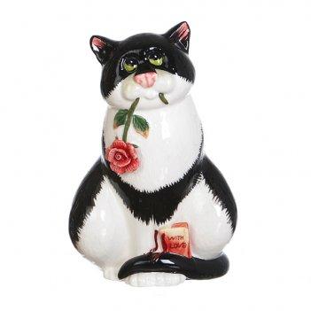 Фигурка кошка с цветком 10*7 см высота=15 см (кор=18шт.)