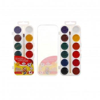 Акварель «гамма», «юный художник», 12 цветов, в пластиковой коробке, с кис