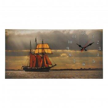 Часы настенные, серия: море, на холсте парусник, 40х76  см, микс
