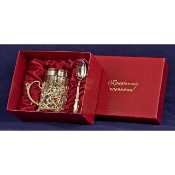 Набор для чая колокольчик (3 пр.) латунь, покрытие (серебр