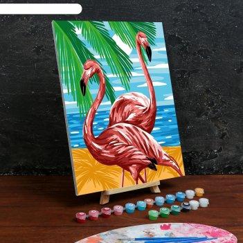 Картина по номерам на холсте с подрамником «фламинго» 30x40 см