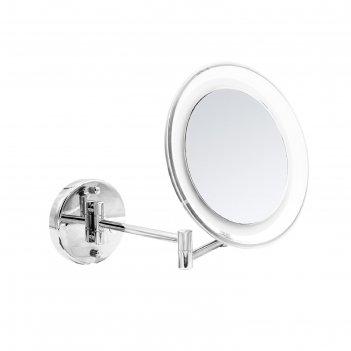 Зеркало косметическое подвесное jasmin, 5х, led usb, цвет хром