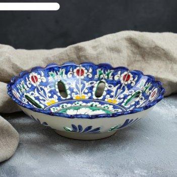 Фруктовница «риштан», 23 см, синяя