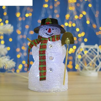 Фигура акрил. снеговик с лопатой 23х12см, 10 led, 240v белый