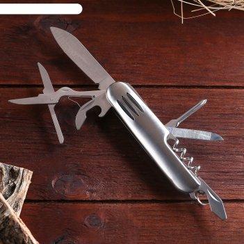 Нож швейцарский мастер к. 7в1, на рукояти 3 полоски, хром
