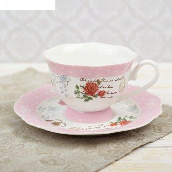 Чайная пара романтика чашка 220 мл, блюдце d-15,5 см