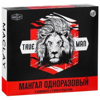 Мангал одноразовый в комплекте с углем и решеткой   лев