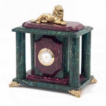 Часы лев змеевик бронза