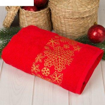 Полотенце махровое collorista снежинки красн 50х90 см 100% хлопок, 370гр/м