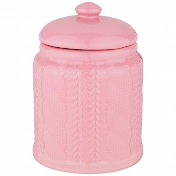 Банка для сыпучих продуктов 700 мл коллекция вязанка цвет: розовый