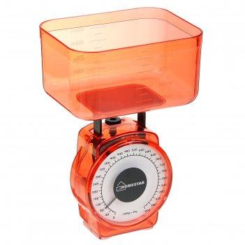 Весы кухонные механические homestar hs-3004м, до 1 кг, чаша 0.4 л, красные
