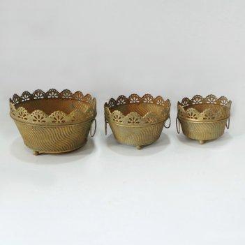 Кашпо напольное, набор из 3-х,  для цветов  декоративное,  золотая патина