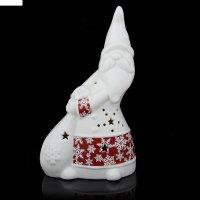 Подсвечник керамика дед мороз с мешком подарков снежинки на красном, 19,7х