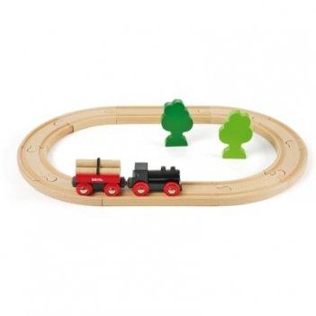 Железная дорога с грузовым поездом из 18 элементов brio