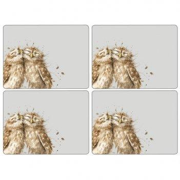 Набор подставок под горячее pimpernel забавная фауна.совы 40х29см, 4шт
