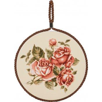 Подставка под горячее корейская роза диаметр=16 см. (кор=36шт.)
