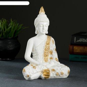 Фигура будда малый 16х9х23см бело-золотая