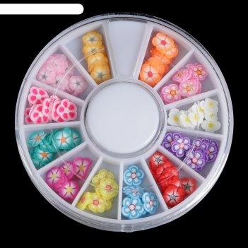 Фимо-дизайн для ногтей «цветы», цвет микс
