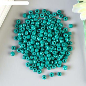 Бисер круглый 6/0 тёмно-зелёный неон 20 гр