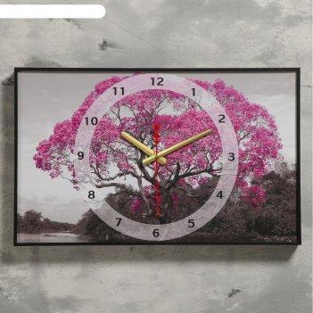 Часы настенные, серия: природа, цветущие дерево, 1 аа, плавный ход, 37х60